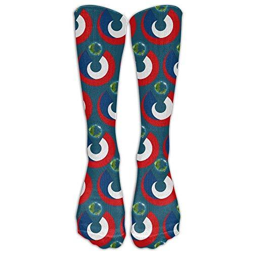 ouyjian Czech Republic Flag Eat The Earth Compression Socks Soccer Socks High Socks Long Socks 60cm