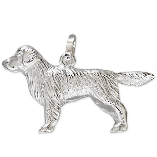 CLEVER SCHMUCK Argento Ciondolo 3D Golden Retriever 26 X 16 mm tangibile Lucido in Argento Sterling 925