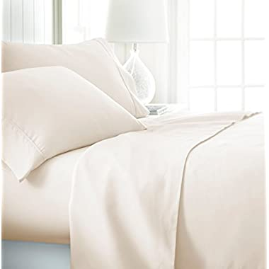 ienjoy Home Hotel Collection Luxury Soft Brushed Bed Sheet Set, Hypoallergenic, Deep Pocket, King, Ivory