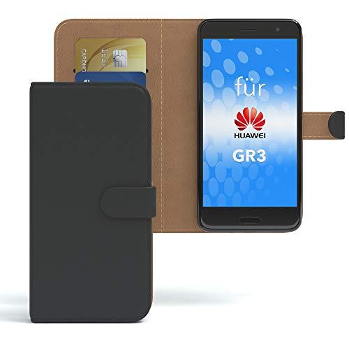 EAZY CASE Tasche kompatibel mit Huawei GR3 Schutzhülle mit Standfunktion Klapphülle im Bookstyle, Handytasche Handyhülle Flip Cover mit Magnetverschluss & Kartenfach, Kunstleder, Schwarz