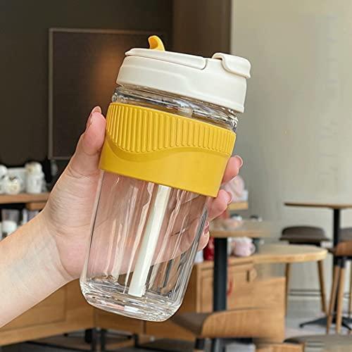 SYXL 11.8oz / 16.9oz Botella de Agua. Botella de Agua aislada Moderna con Paja, antiescala y Antideslizante, Botella de Agua de Vidrio (Color : Yellow, tamaño : 500ml/16.9oz)