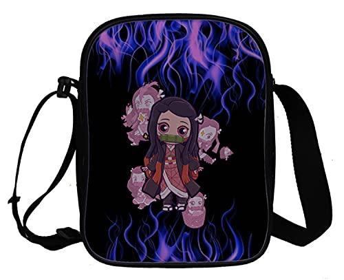 WANHONGYUE Demon Slayer Anime Bolso Bandolera Bolso Mensajero de Hombre y Mujer Bolsos Cruzados Pequeño Bolsos Mano Crossbody Bag 1050/5