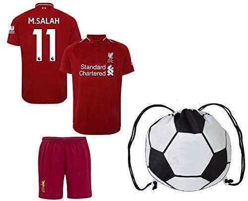 Rhinox Liverpool Salah #11 Youth Soccer Jersey Home/Away Short Sleeve Kit Shorts Kids Gift Set (YL 10-13 Years, Home)