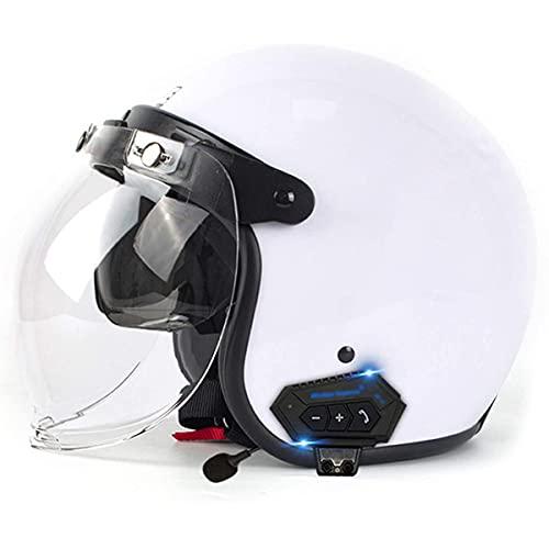 qwert Casco de motocicleta con cara abierta 3/4 para adulto, unisex, estilo jet retro, con visera solar para scooter Cruiser, certificado DOT (57-62 cm)