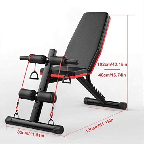 YCLOGHO Multifunctional Dumbbell Bench Adjustable Weight Bench wFitness Rope - Foldable Sit Up Bench - Dumbbells Bench - Decline Incline FAbs Bench Home Gym FFly Weight