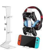 Soporte para Controlador de Juegos para Nintendo Switch/Xbox/Playstation PS4,Accesorios universales Gamepad,Controlador de Juego Dual MiiKARE y Soporte para Auriculares-Blanco