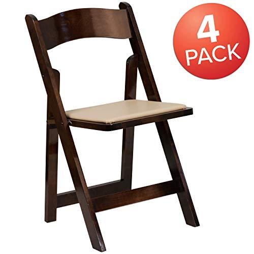 Flash Furniture 4 Pk. HERCULES Series Fruitwood Wood Folding Chair