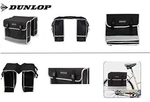 Dunlop FGT19 Doppel-Fahrradtasche Gepäckträgertasche für Rahmen, Cityrad Gepäckträger Tasche je 14,5 L Volumen, wasserdichte Radtasche , Fahrrad Seitentasche mit Clip-Verschluß, schwarz - 6