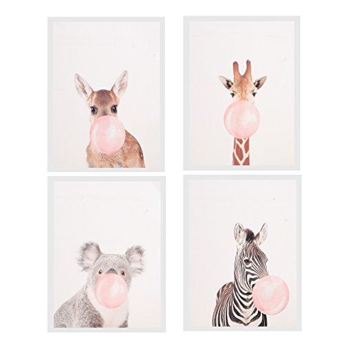 Perfeclan Cuadro De La Pared De La Pintura Al óleo De La Lona De 4 Paneles Cuadro del Arte De La Decoración - Chicle del Soplo Animal