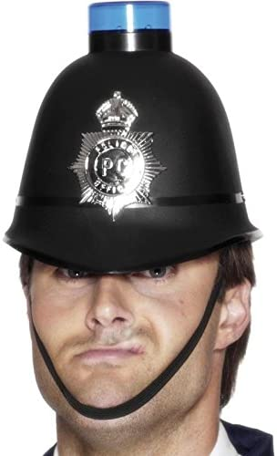 Smiffy's Police Helmet with Flashing Siren Light Size: One Size
