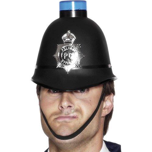 Smiffys Polizeihelm mit blinkendem Blaulicht, One Size