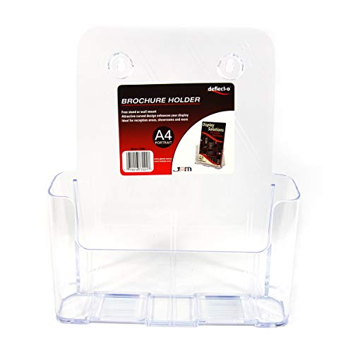 """Deflecto Single Compartment Literature Holder, Countertop or Wall Mount, Magazine Size, Clear, 9-1/4""""W x 10-3/4""""H x 3-3/4""""D (77001)"""