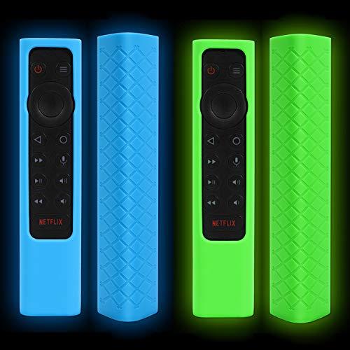 OOTSR Funda de Silicona Compatible con NVIDIA Shield TV Pro/4K HDR Remote Controller, Funda Protectora Remota, Antideslizante Shockproof Funda Protectora, Brillar en Oscuridad (Glow Azul+Verde