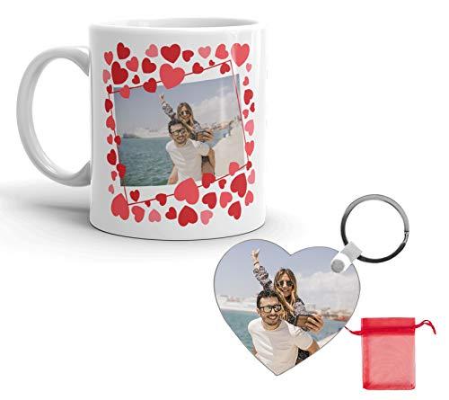 Kembilove Pack Taza y Llavero Personalizado de Pareja - Taza de café Personalizada con Foto y Nombre de tu Pareja - Regalo Original para los Enamorados, Cumpleaños, Aniversarios