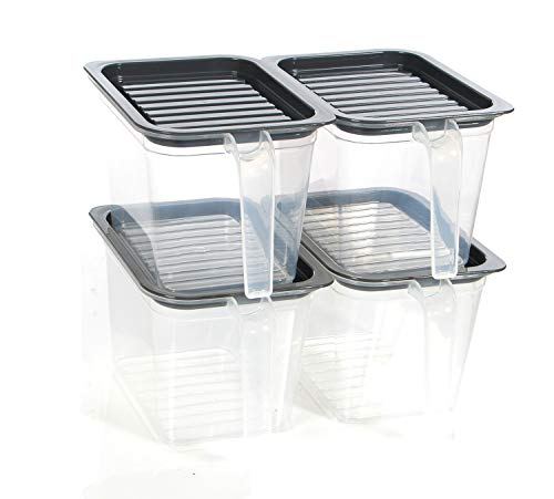 Transparent food storage containers bins with Handle Lids, 1 Qt 4 pieces stackable Set of 4 BPA Free. Pantry bins for kitchen refrigerators. Keep meal cereal flour sugar (Grey)