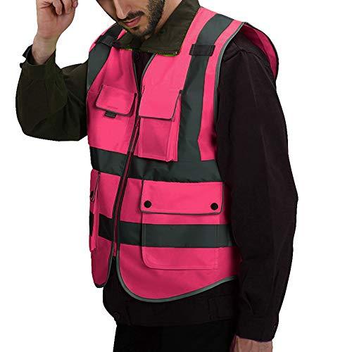 Puimentiua Chaleco de Seguridad Fluorescente Multibolsillos de Hombre Uniforme Trabajo de Tela Tejida Alta Visibilidad Amarillo Reflectante