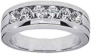 1.00 ct TW Men's Round Cut Diamond Wedding Band Ring in Platinum