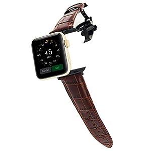 Braunes Lederarmband Kompatibel mit Apple Watch 38 mm 40 mm 42 mm 44 mm Ersatzband für iWatch Series 6 SE 5 4 3…