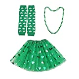 TENDYCOCO St Patrick Day Kostüm Zubehör Set Klee Gedruckt Mesh Rock Halskette Arm Wärmer Dress up...