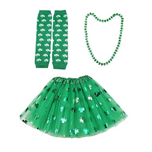 TENDYCOCO St Patrick Day Kostüm Zubehör Set Klee Gedruckt Mesh Rock Halskette Arm Wärmer Dress up für Dame Girl Festival Party