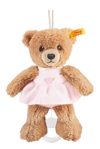 Steiff Schlaf-gut Bär Spieluhr - 20 cm - Teddybär mit Kleid - Kuscheltier für Babys - weich & waschbar - beige / rosa (239540)