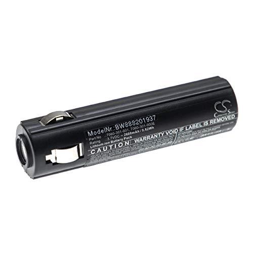vhbw batería compatible con Peli 7060, 7069, 7060-301-000-1, 7060-301-000E, 7060-301-001 linterna de bolsillo front (2600mAh, 3,7V, Li-Ion)