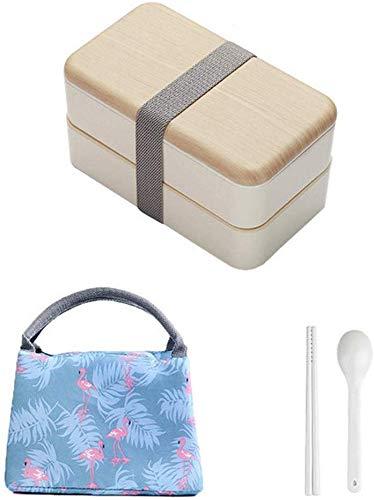 Pkfinrd Lunch BoxMagnetron Dubbele Laag Bento Box Houten Deksel Salade Bento Box Worker Student Witte Kraag Draagbare Container Doos China Roze-Tas Set