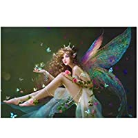 KBIASD 新しいディアマント絵画バタフライエルフアニメダイヤモンド絵画壁の装飾かわいい女の子ダイヤモンド刺繡フルスクエアドリル-40x60cmフレームなし