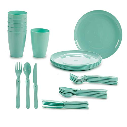 TU TENDENCIA ÚNICA Juego de Vajilla de Plástico para Picnic o Camping de 31 Piezas. Incluye: Platos, Cubiertos, Vasos y Caja de Almacenamiento (Verde)