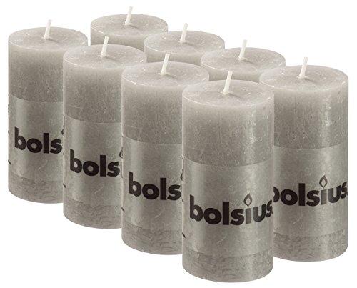 BOLSIUS 8 Pk. Light Gray Rustic Pillar Party Wedding Candles Aprox. 2X4 Inches (100X50mm)