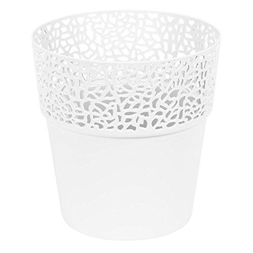 Lamela Rosa en plastique, joli pot de fleur 14,5 cm, elegante boite en blanc