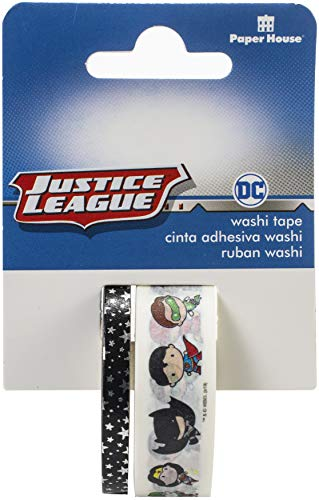 Paper House Productions DC Comics Justice League Chibi Characters Set of 2 Foil Accent Washi Tape Rolls for Scrapbooking and Crafts