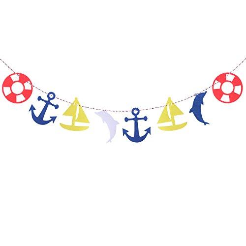 Tinksky decoratie voor kinderkamer banner slingers mediterrane anker zeilboot vlag voor kinderen decoratie verjaardag 3 m
