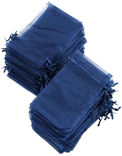 FiveSeasonStuff Blu Scuro Organza Borse Sacchetto Sacco | Favori di Nozze da Regalo Gioielli Compleanni Party Battesimo Arte e Artigianato Confezione Regalo Caramelle Fai da Te (10 x 15cm) – 100 Pz