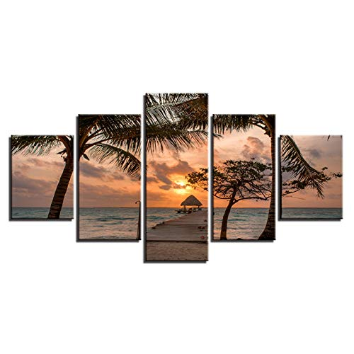 TIANJJss 5 foto's op canvas met afbeelding op canvas modulair met houten brug schilderij muurposter 5 panelen afbeelding zonsondergang voor thuisdecoratie Sea Kids Room Frame