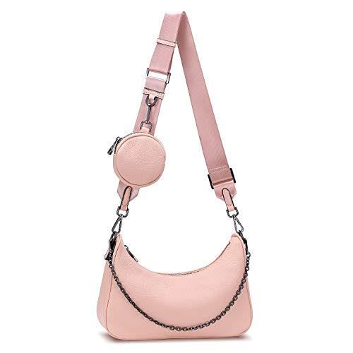 YALUXE Umhängetasche Damen Echtleder Mode Multi 2 in 1 Reißverschluss Handtaschen mit Münzetasche Rosa