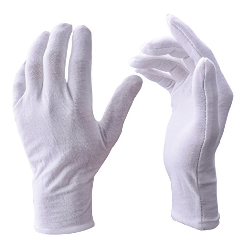 White Gloves, Zealor 12 Pairs Soft Cotton Gloves, Coin Jewelry Silver Inspection Gloves, Stretchable Lining Glove, Large Size