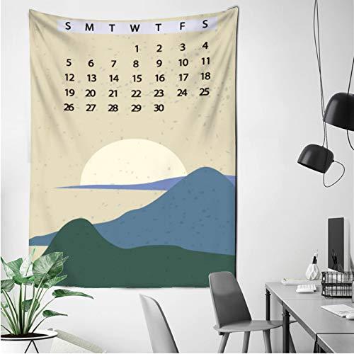 N/A Impresión 3D tapices Nuevo Calendario Tapiz de Pared de Estilo japonés Pintado Abstracto Atardecer montaña Bosque Hippie ilustración Calendario paño de Pared Regalo de Arte casero de Moda