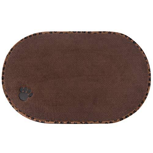 SINLAND Microfiber Pet Bowl Food Mat Dish Drying Mat with AntiSkid Backing 1614quot x 2716quot Brown