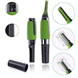 SpaceQ Innovation All in one Micro Touch Max Personal Nose Ear Hair Eyebrow Trimmer with LED Light for Men and Women (Green)(1)