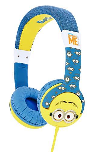 OTL Technologies JUNIOR Cuffie per bambini Minion Faces (fascia imbottita, limite di volume di 85 dB, design colorato, per ragazzi e ragazze), Blu/giallo