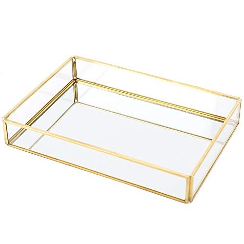 Kosmetik Aufbewahrungsbox, Vintage Makeup Cases Metall Schmuck Tablett Glas Aufbewahrungsbox Gold Tablett Kosmetik Display Boxen(S)