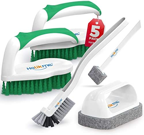 Holikme 5 pack Deep Cleaning Brush Set Scrub Brush Grout and Corner brush Scrub pads with Scraper product image