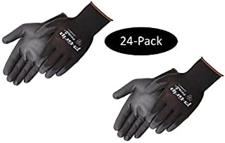 Liberty P-Grip Ultra-Thin Polyurethane Palm Coated Glove with 13-Gauge Nylon/Polyester Shell, Medium, Black (Pack of 24)