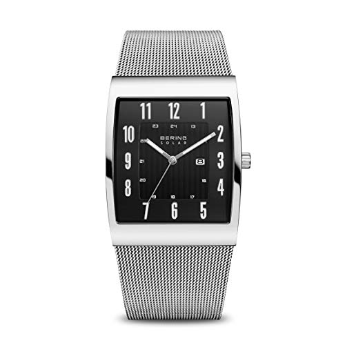 BERING Time | Men's Slim Watch 16433-002 | 33MM Case | Solar Collection | Stainless Steel Strap | Scratch-Resistant Sapphire Crystal | Minimalistic - Designed in Denmark