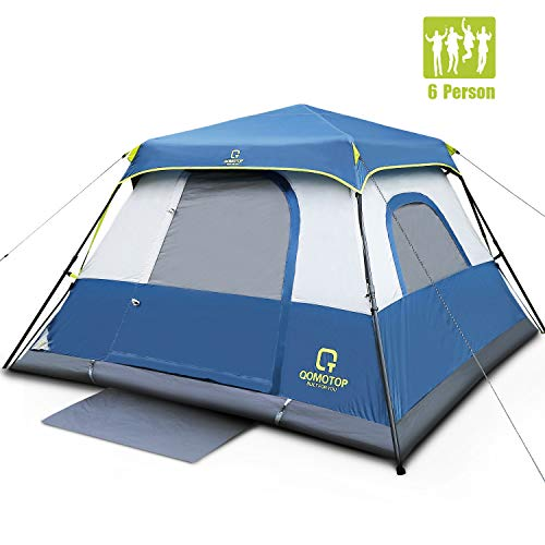 OT QOMOTOP Cabin Tent 6 People,10x9 Feet 66in Tall Camping Tent, 1 Minute Set Up, Top Rainfly, Rainproof, Smooth Ventilation, Sturdy Frame, Seamless Gap, Electrical Cord Access Port, Gate Mat-QTIC06