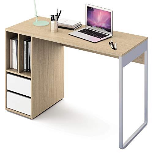 Abitti Escritorio Mesa de Ordenador Multimedia Color Roble y Blanco, Pata metálica, 2 cajones y 2 Huecos para Oficina, despacho o Estudio.120cm Ancho x 74cm Altura x 50cm Fondo