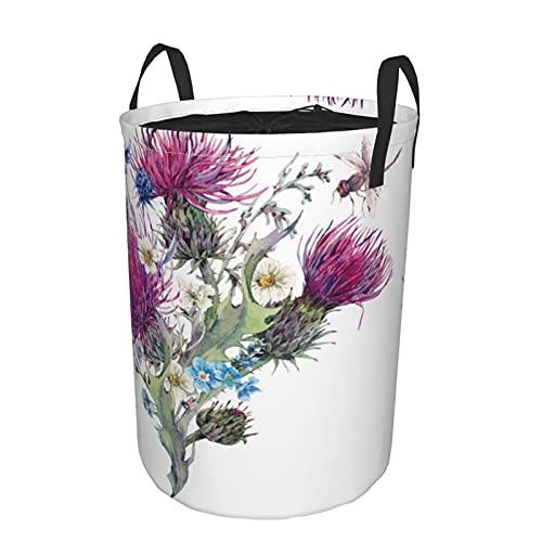 Cesta de almacenamiento, acuarela de prado natural de verano con flores silvestres, cardos, diente de león, hierbas, cesto de lavandería grande plegable con asas 19'x14'