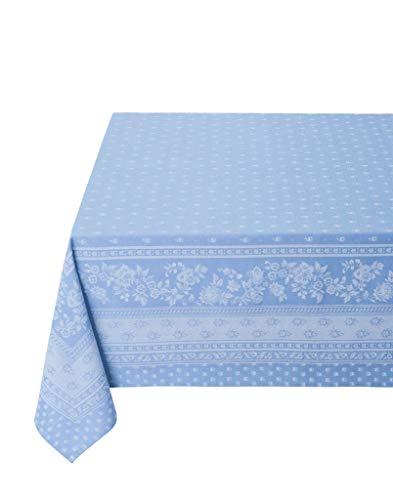 Tissus Toselli Tischdecke Beschichtet Durance Azur Baumwollmischung Jacquard Tischtuch Nizza Provence (160 x 250 cm)