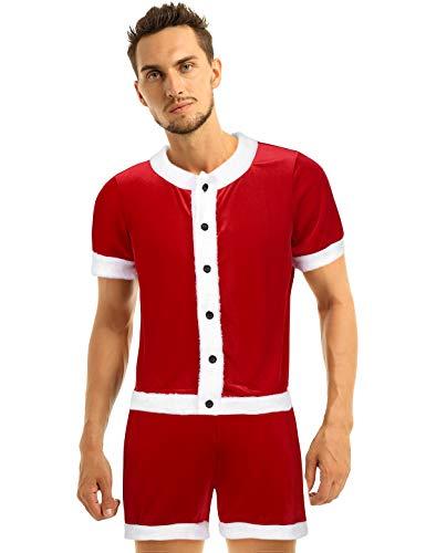Freebily Herren Weihnachtsmann Kostüm Samt Weihnachtsoutfits Rot Hemd Kurzarm Rundhals Unterhemd Retroshorts Party Verkleidung Rot Large